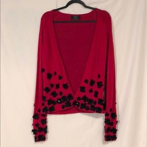 NEVER WORN Carmen Marc Valvo Embroidered Sweater
